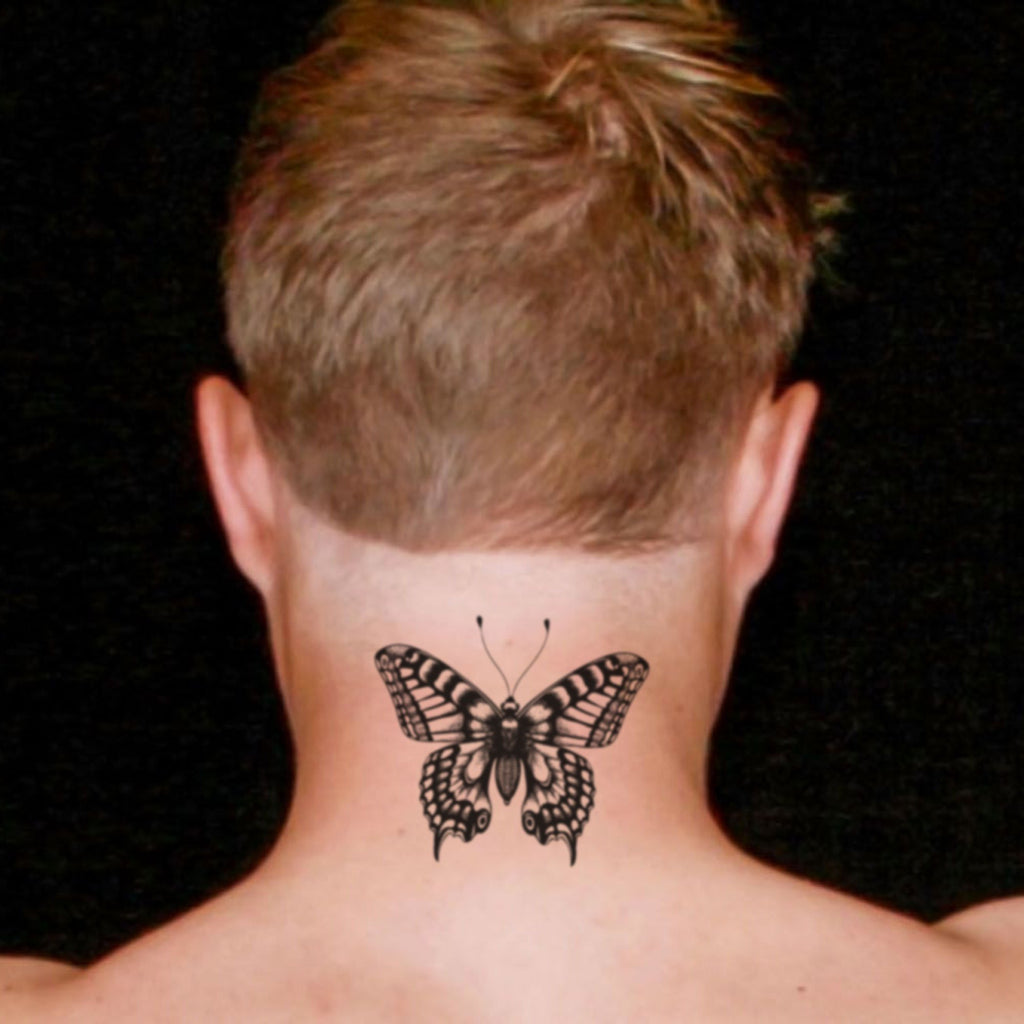 fake medium butterfly men animal temporary tattoo sticker design idea on neck