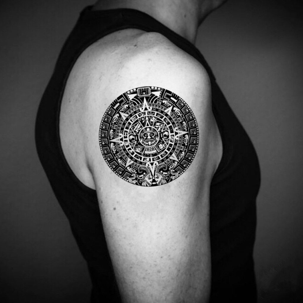 fake medium aztec mayan calendar inca tribal temporary tattoo sticker design idea on upper arm