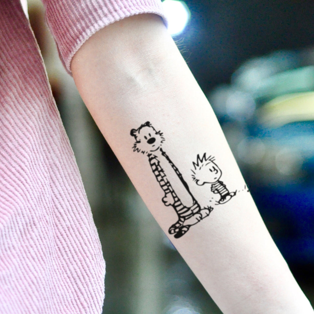 fake medium calvin and hobbes cartoon character cartoon temporary tattoo sticker design idea on inner arm