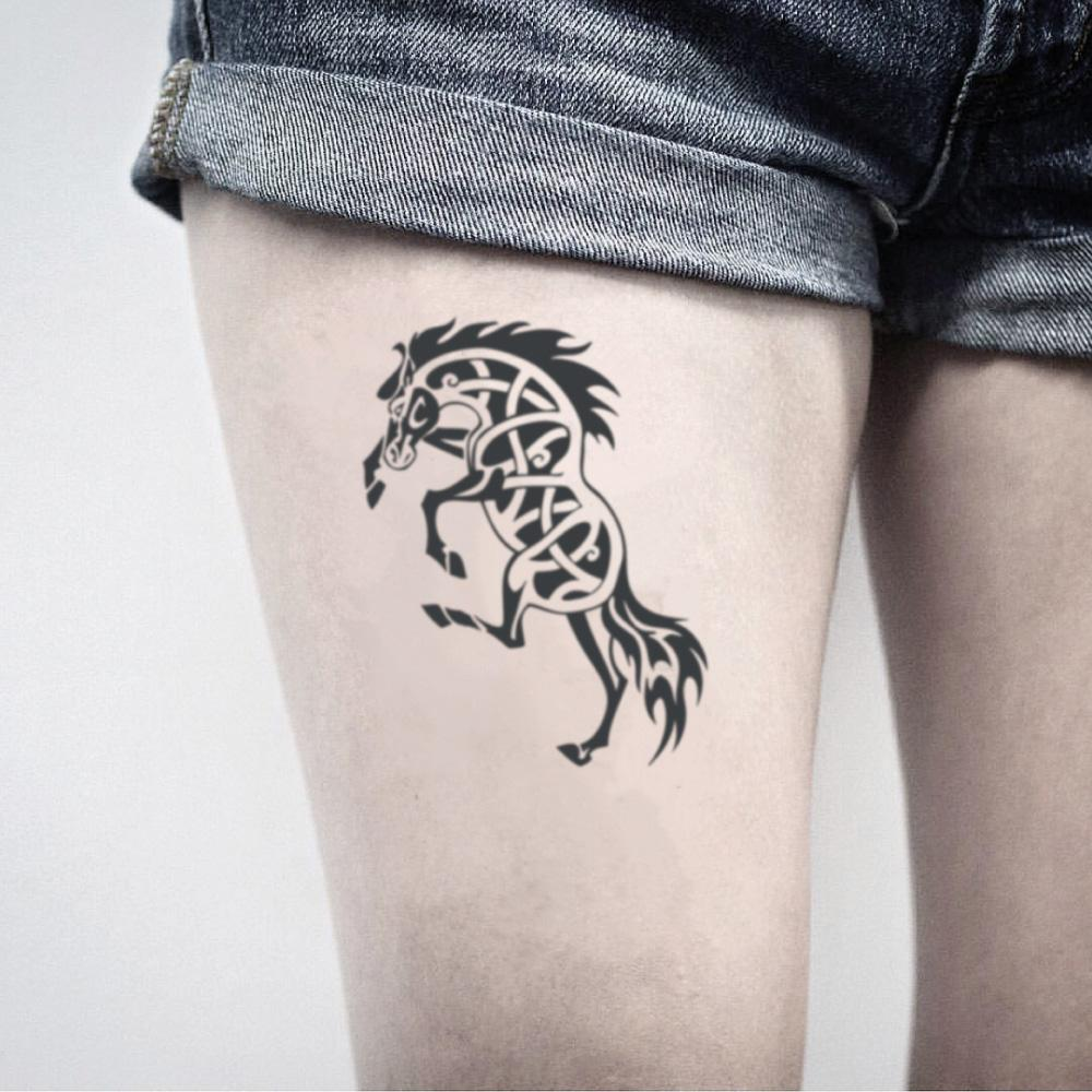 fake medium stallion celtic war wild horse animal temporary tattoo sticker design idea on thigh