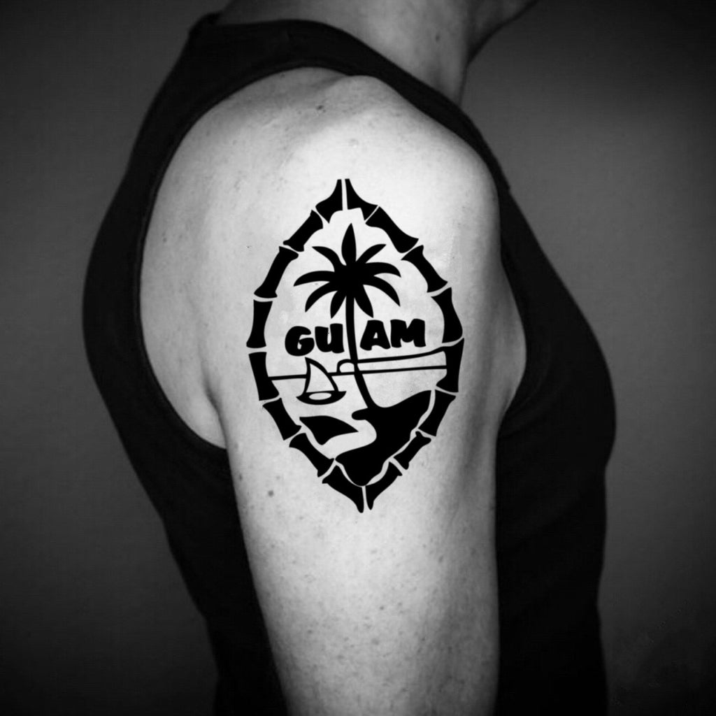 fake medium guam chamorro illustrative temporary tattoo sticker design idea on upper arm