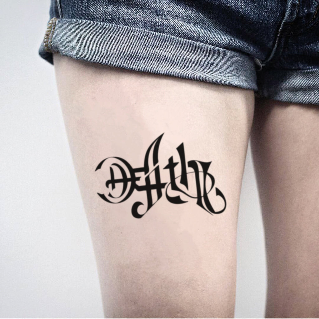 fake medium death and life ambigram symbol Lettering temporary tattoo sticker design idea on thigh