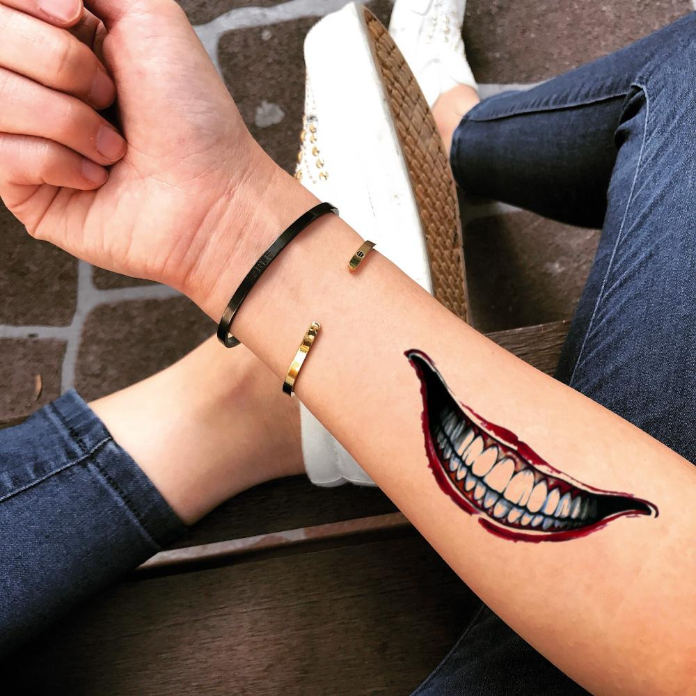 fake medium joker smile big mouth color temporary tattoo sticker design idea on forearm