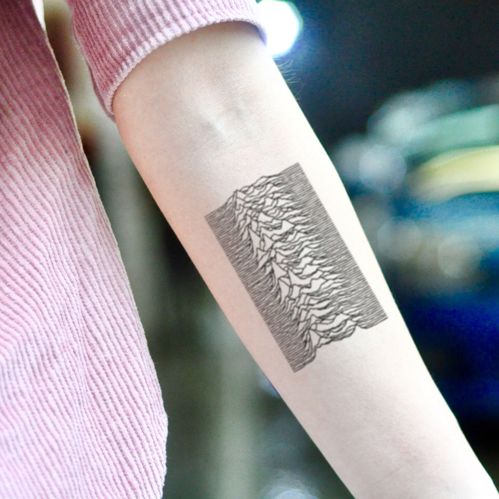 fake medium joy division topographic mountain map etching Illustrative temporary tattoo sticker design idea on inner arm
