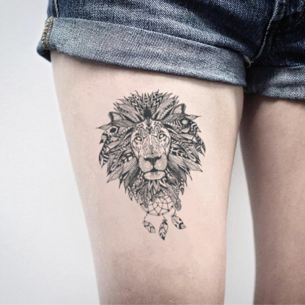 fake medium indian lady art style lion mandala animal bohemian temporary tattoo sticker design idea on thigh