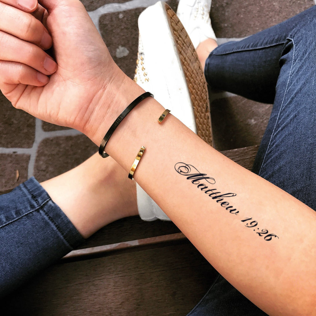 fake medium matthew 19 26 lettering temporary tattoo sticker design idea on forearm