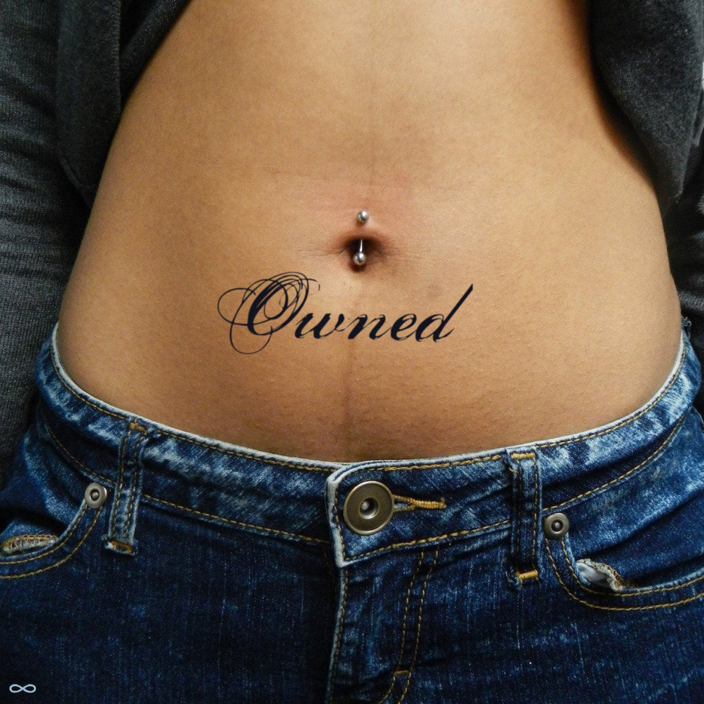 fake medium black owned lettering temporary tattoo sticker design idea on stomach
