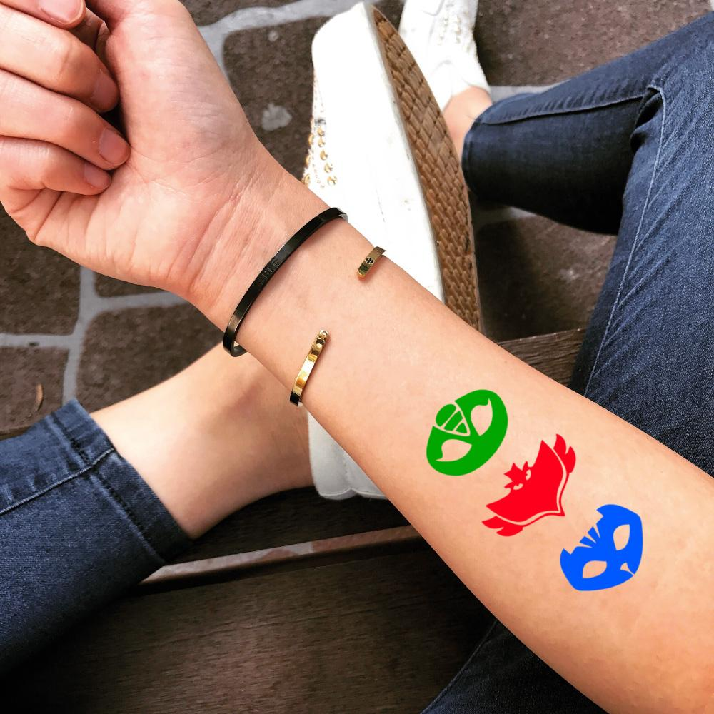 fake medium pj masks cartoon color temporary tattoo sticker design idea on forearm