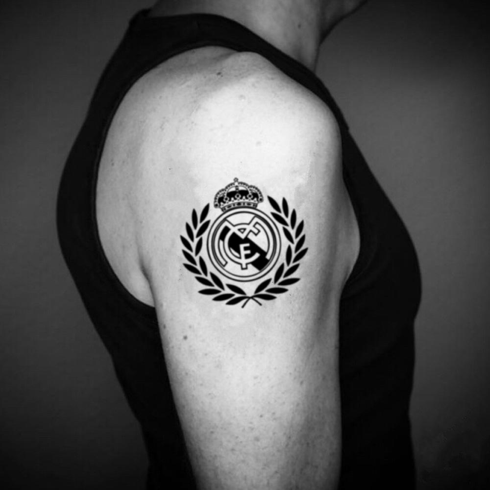 fake medium real madrid illustrative temporary tattoo sticker design idea on upper arm