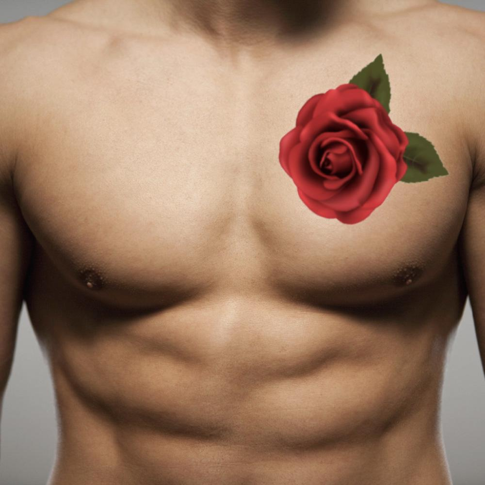 fake medium rose flower color temporary tattoo sticker design idea on guy chest