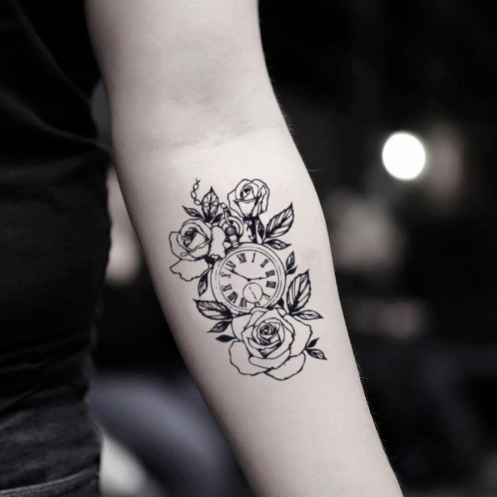 fake medium roman rose fob pocket time clock flies heals all wounds is money machine piece timepiece memorial flower temporary tattoo sticker design idea on inner arm