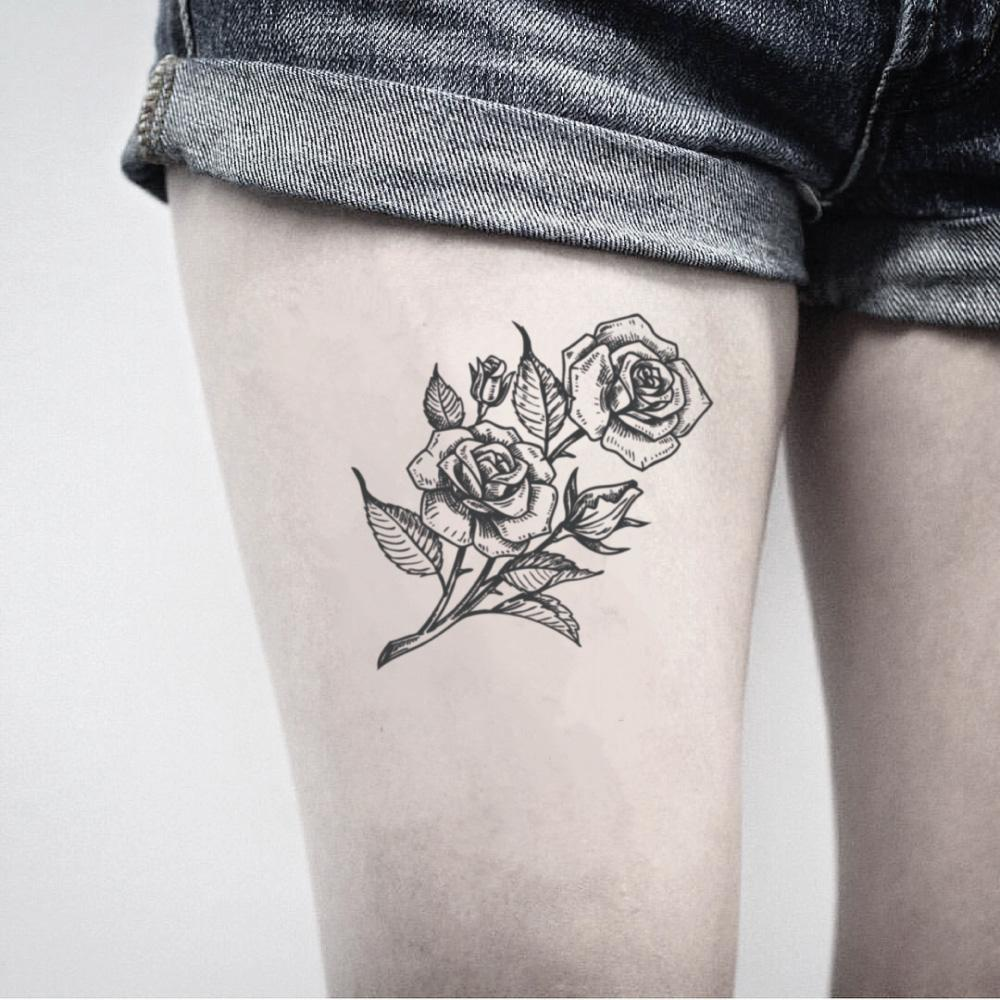 fake medium sexy rose bouquet garden flower temporary tattoo sticker design idea on thigh