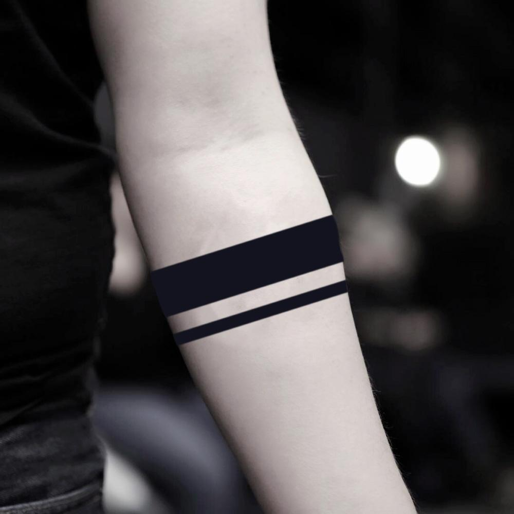 fake medium solid two 2 black lines white out stripes wrap around armband negative space arm ring band scott mccall geometric temporary tattoo sticker design idea on forearm around arm