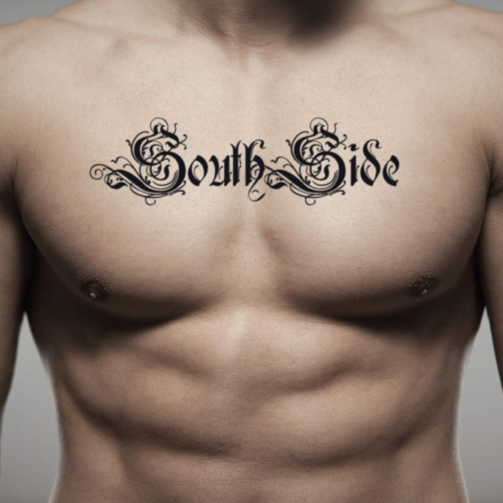 fake medium southside lettering temporary tattoo sticker design idea on chest
