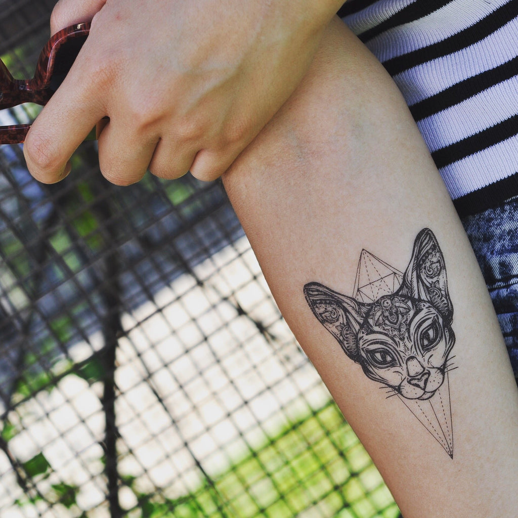 fake medium sphinx cat face animal temporary tattoo sticker design idea on inner arm