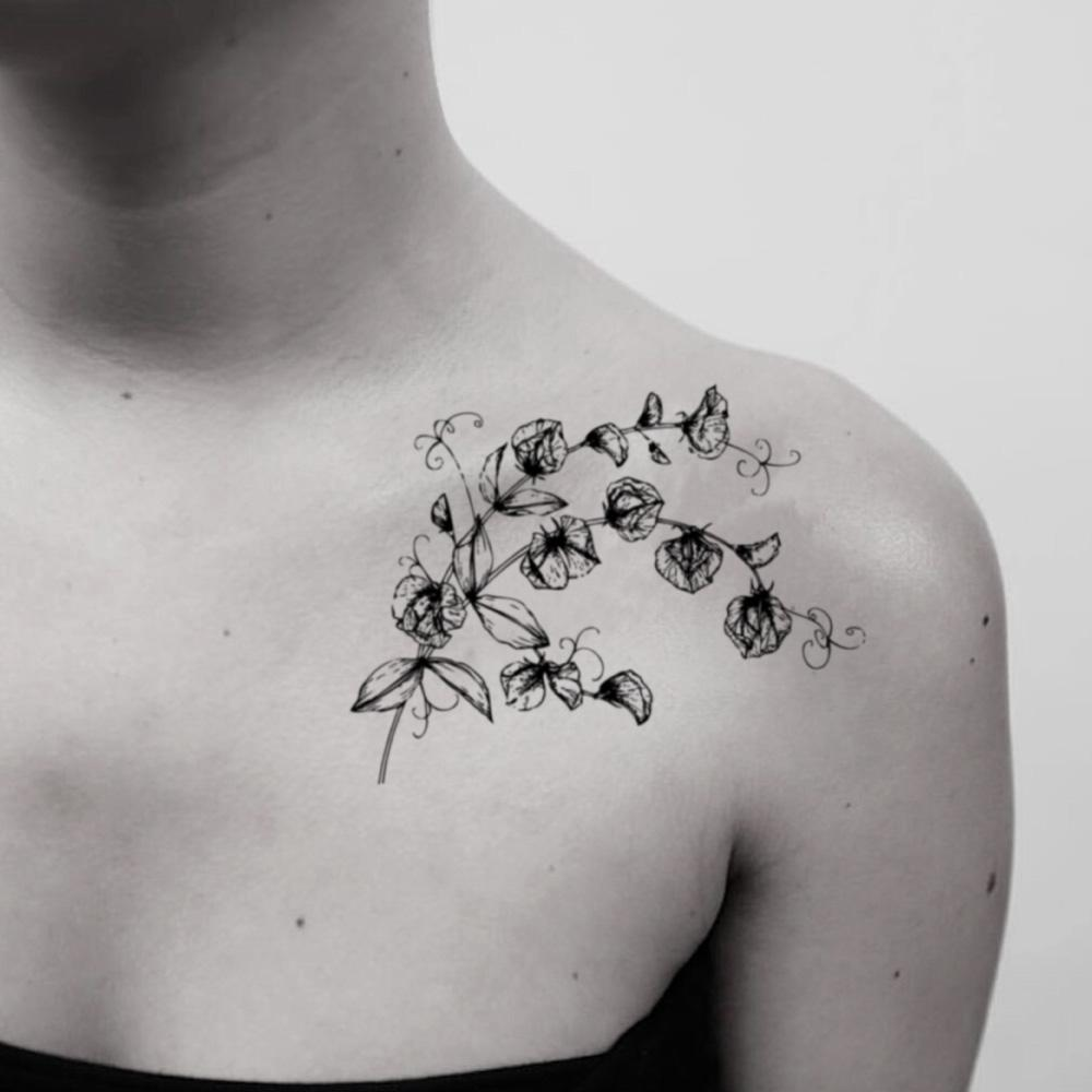 fake medium sweet pea flower temporary tattoo sticker design idea on shoulder