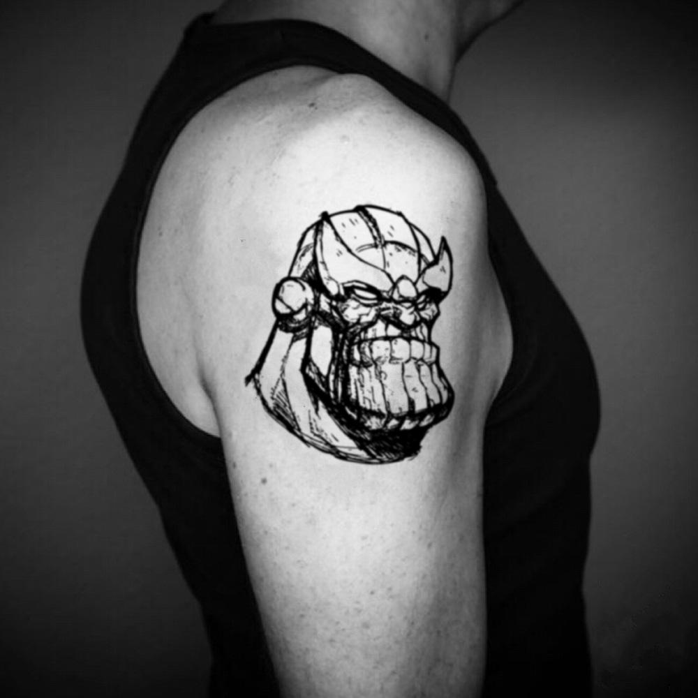 fake medium thanos sketch cartoon temporary tattoo sticker design idea on upper arm