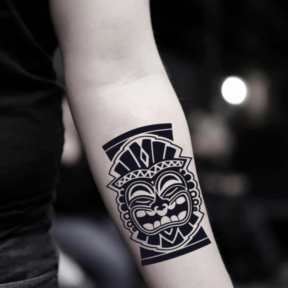 fake medium tiki mask tlaloc aztec god tribal temporary tattoo sticker design idea on inner arm