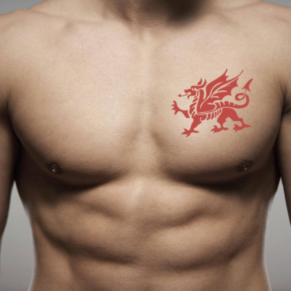 fake medium welsh dragon color temporary tattoo sticker design idea on chest