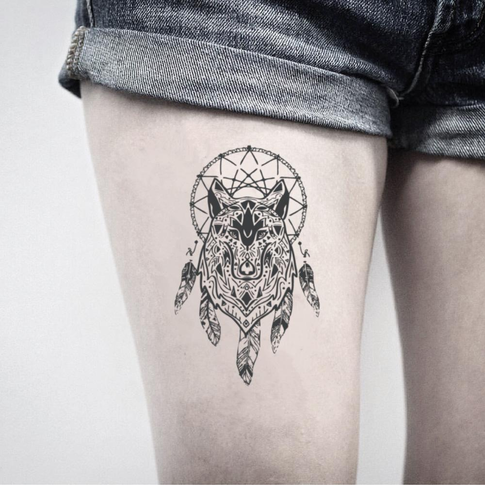 fake medium wolf dream catcher animal bohemian temporary tattoo sticker design idea on thigh