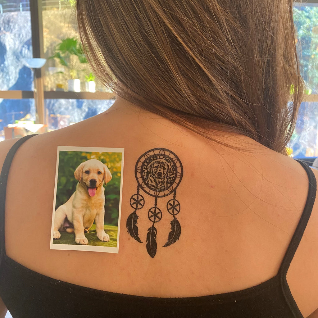 OhMyTat - fake small custom dog pet temporary tattoo sticker dream catcher effect style design idea on upper back