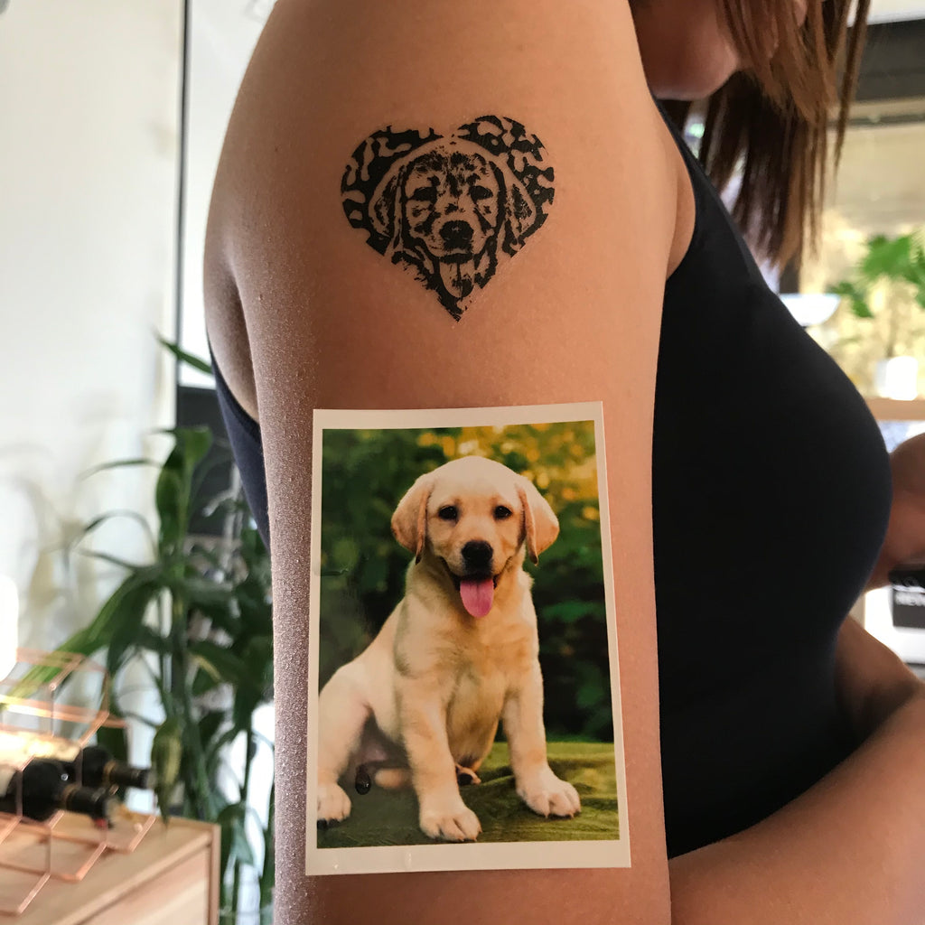 OhMyTat - fake small custom dog pet temporary tattoo sticker heart print effect style design idea on upper arm