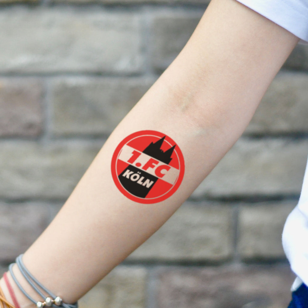 fake small 1.fc köln color temporary tattoo sticker design idea on inner arm