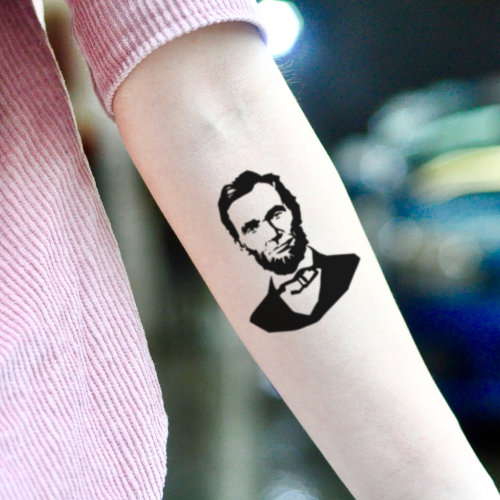 fake small abraham lincoln portrait temporary tattoo sticker design idea on inner arm