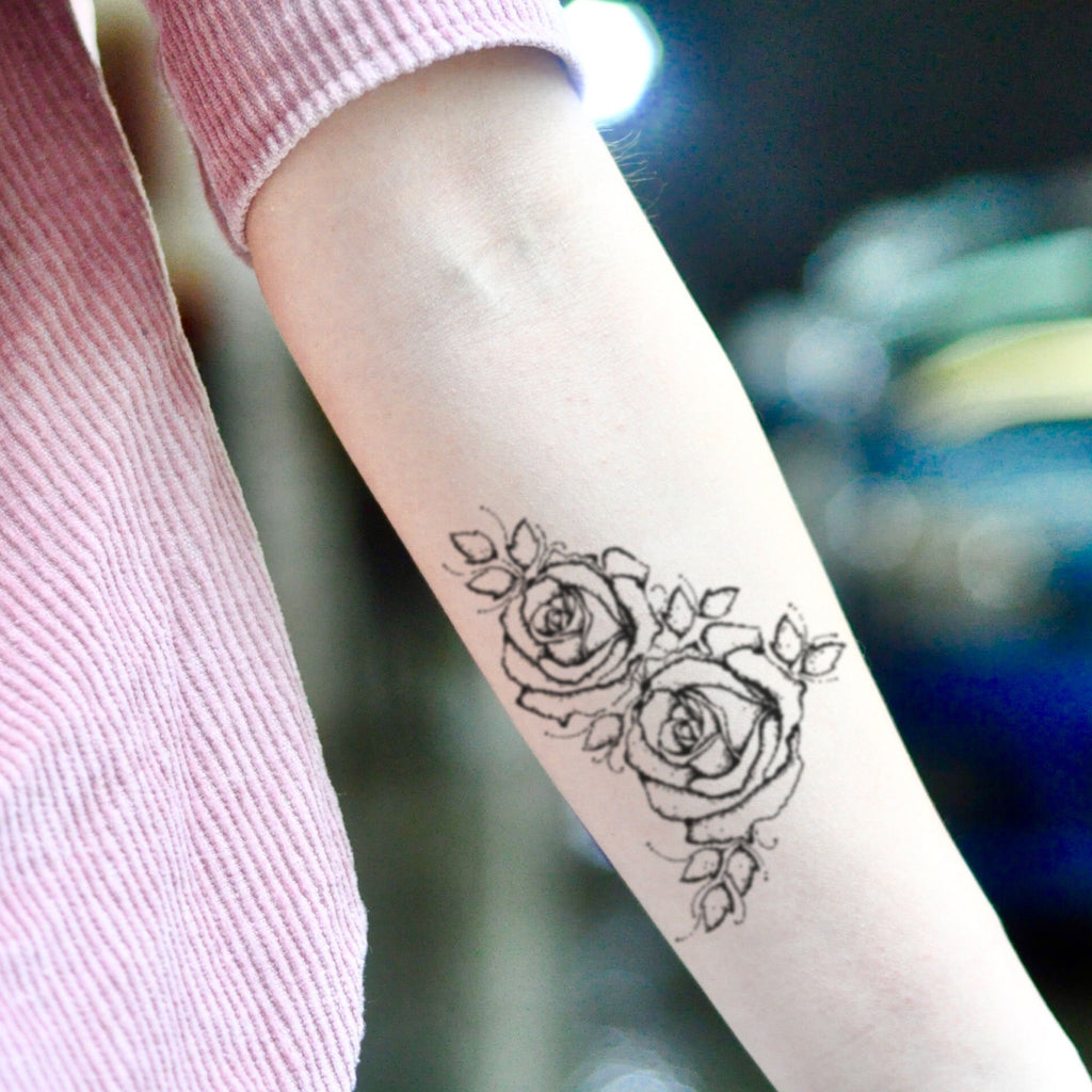 fake small acacia brinley flower temporary tattoo sticker design idea on inner arm