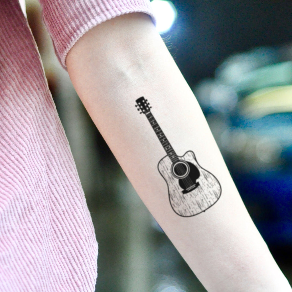 fake small acoustic guitar music temporary tattoo sticker design idea on inner arm
