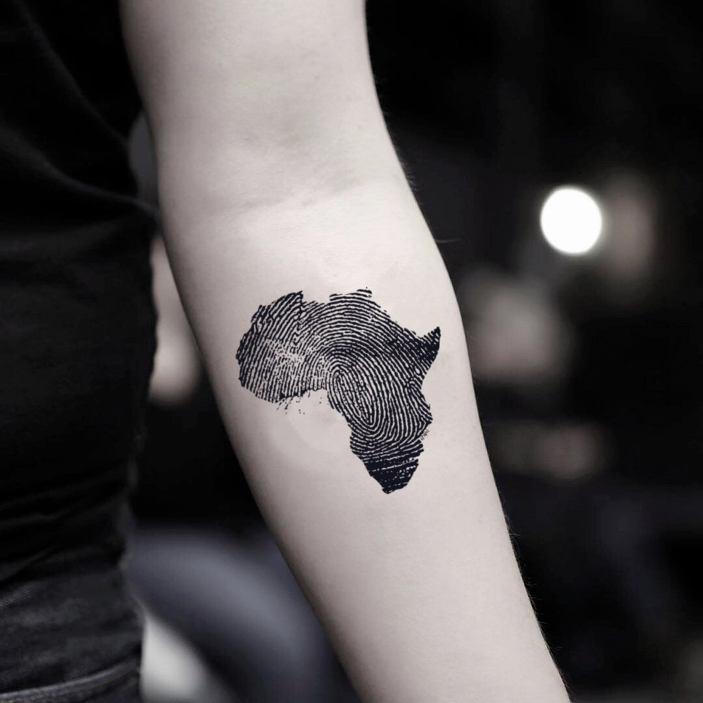 fake small west african continent illustrative temporary tattoo sticker design idea on inner arm