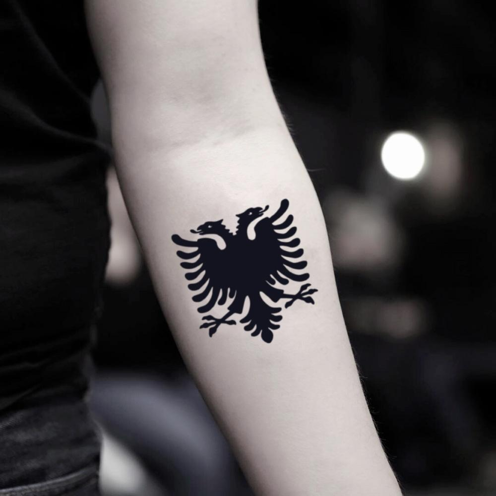 fake small albanian double headed eagle animal temporary tattoo sticker design idea on inner arm