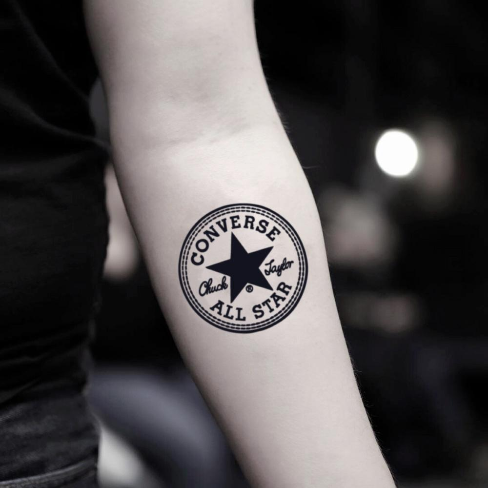 fake small all star converse chucks illustrative temporary tattoo sticker design idea on inner arm