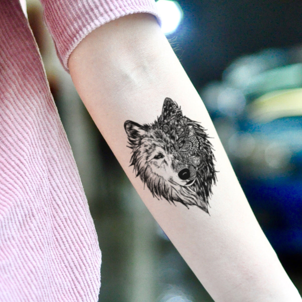 fake small great 3d alpha grey white wolf double hybrid face animal temporary tattoo sticker design idea on inner arm