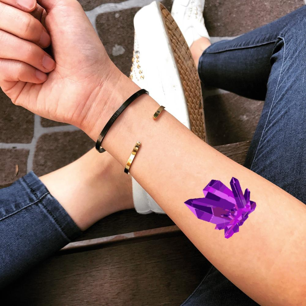 fake small amethyst geode rose quartz color jewel temporary tattoo sticker design idea on forearm