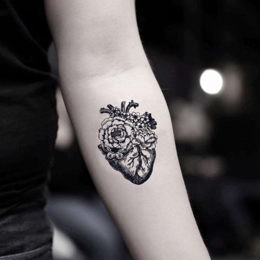 fake small anatomical heart organ flower illustrative temporary tattoo sticker design idea on my your inner arm sleeve