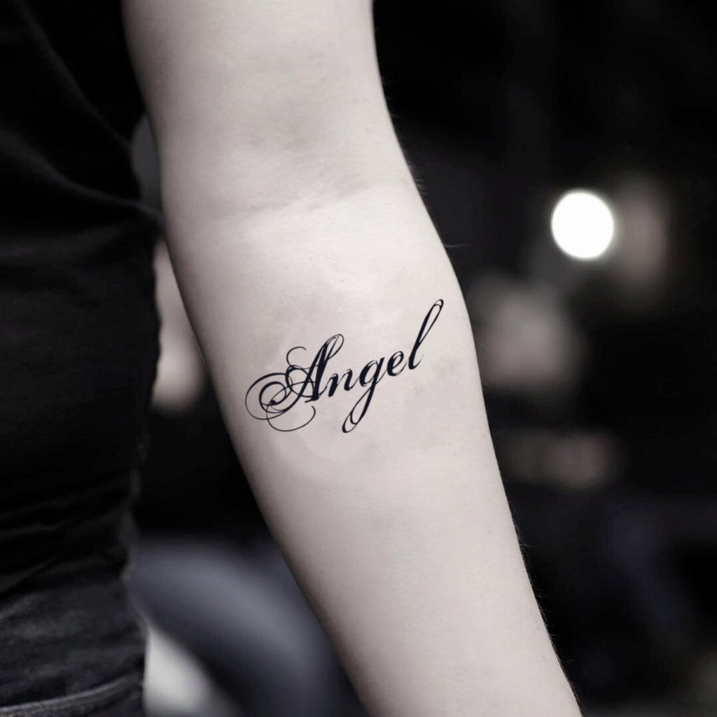 fake small angel name lettering temporary tattoo sticker design idea on inner arm