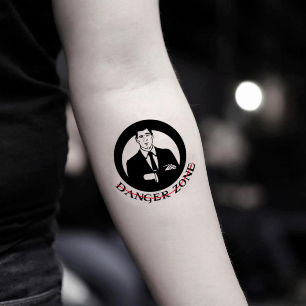 fake small archer illustrative temporary tattoo sticker design idea on inner arm