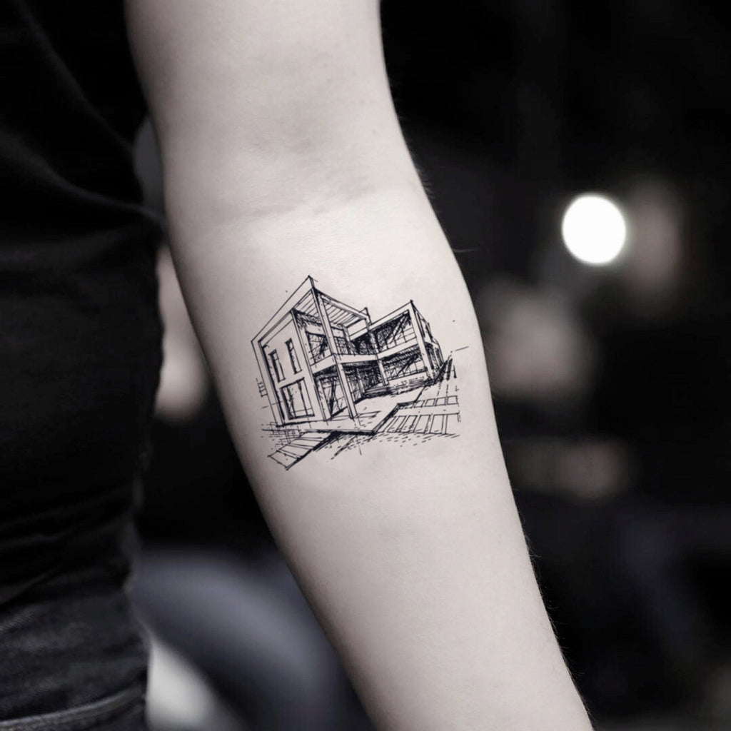 fake small architecture illustrative temporary tattoo sticker design idea on inner arm