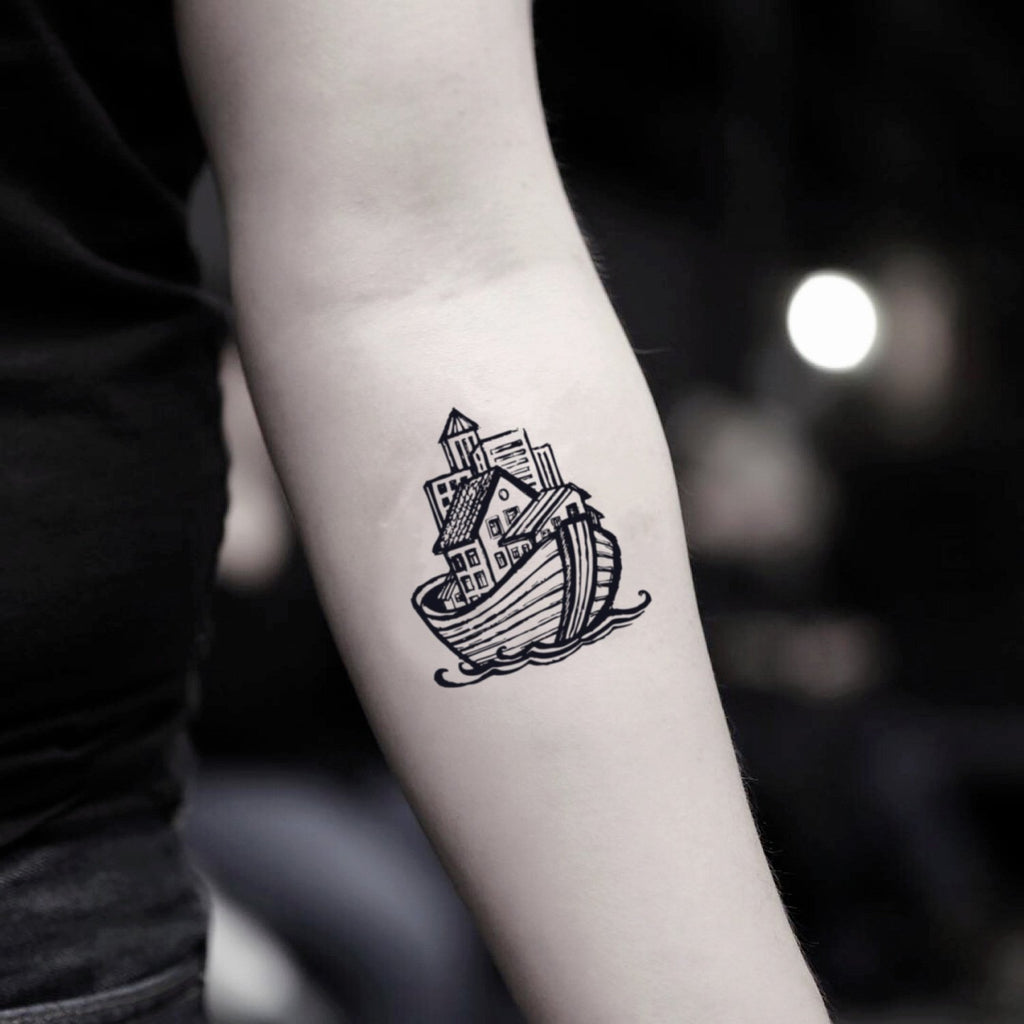 fake small ark ferry fishing boat tugboat illustrative temporary tattoo sticker design idea on inner arm