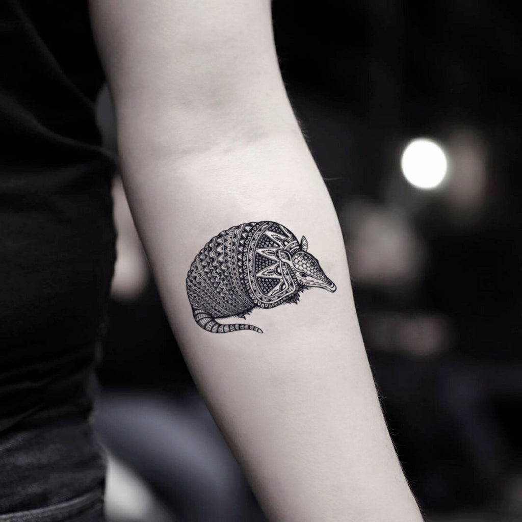 fake small armadillo pangolin animal temporary tattoo sticker design idea on inner arm