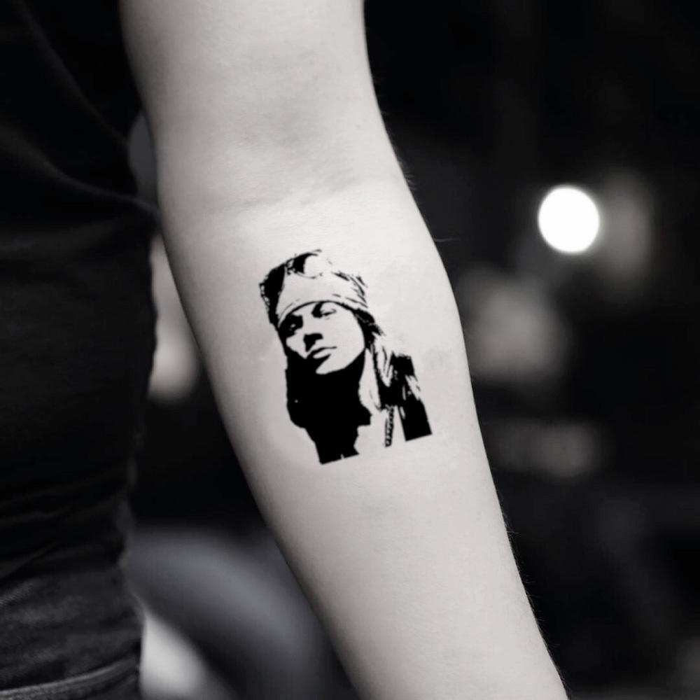 fake small axl rose portrait temporary tattoo sticker design idea on inner arm