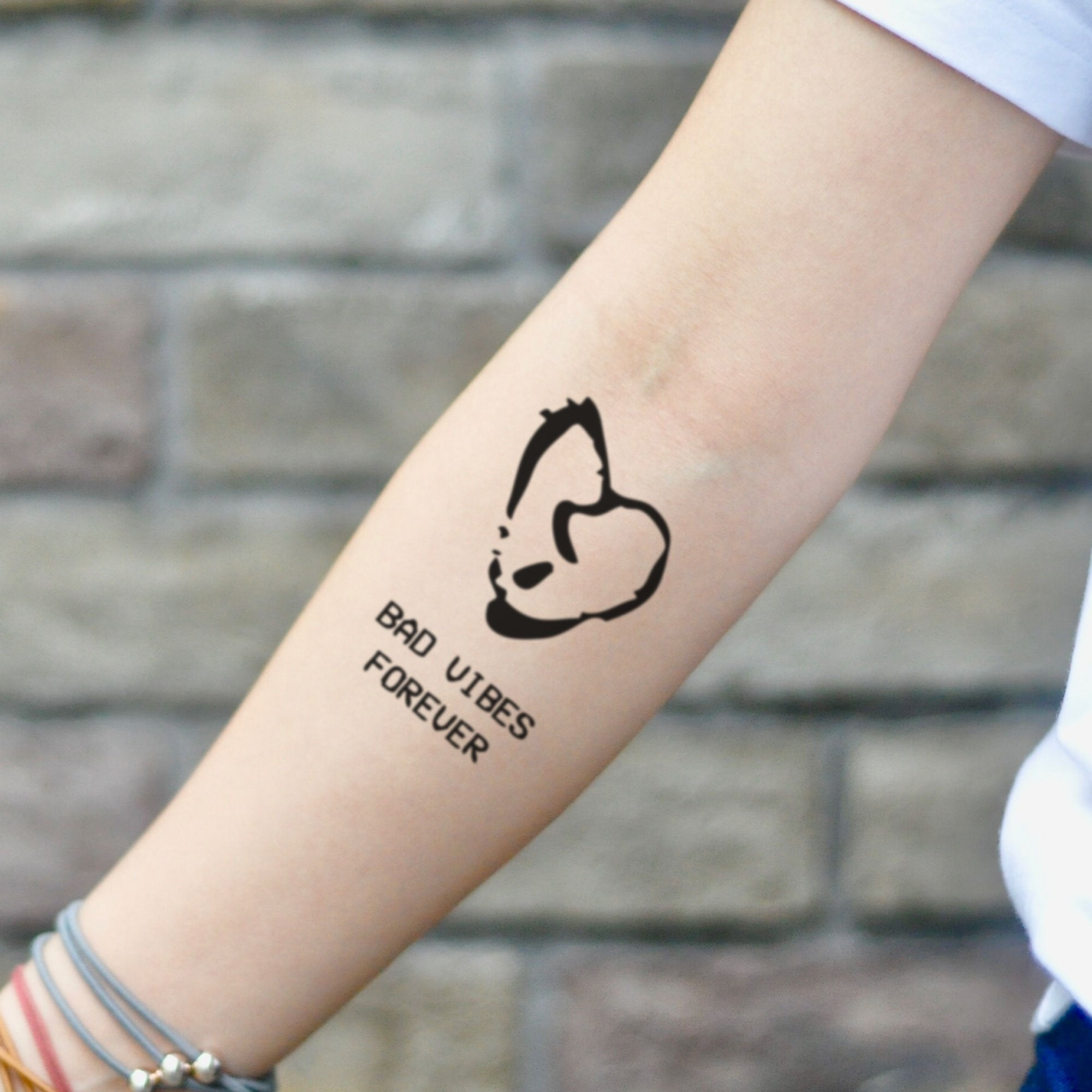 Bad Vibes Forever Temporary Tattoo Sticker (Set Of 2)