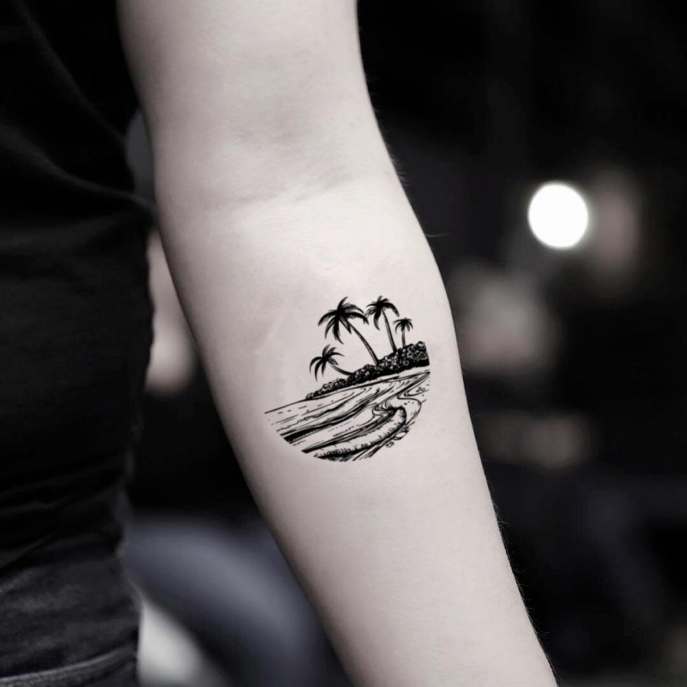 fake small ocean palm beach island nature temporary tattoo sticker design idea on inner arm