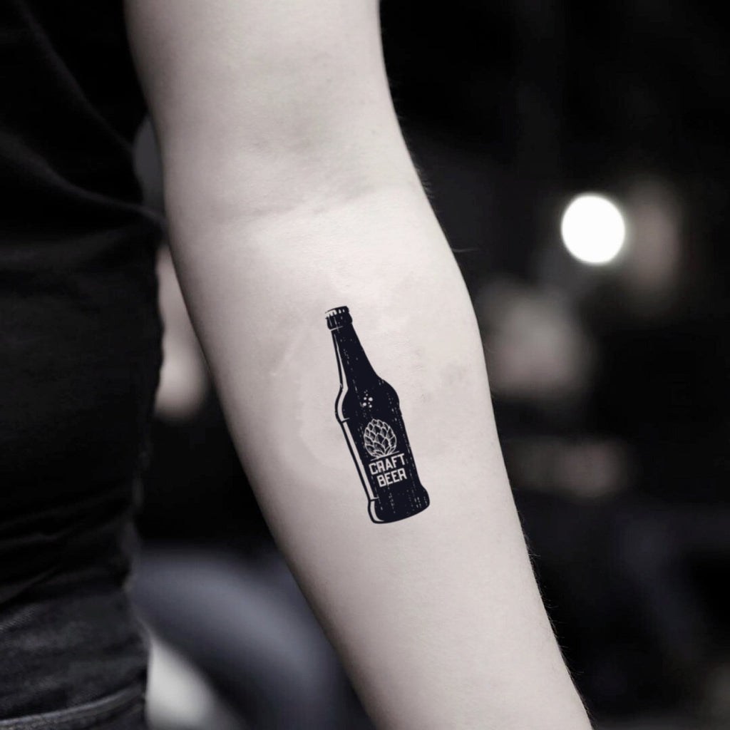 fake small beer bottle vintage drink temporary tattoo sticker design idea on inner arm
