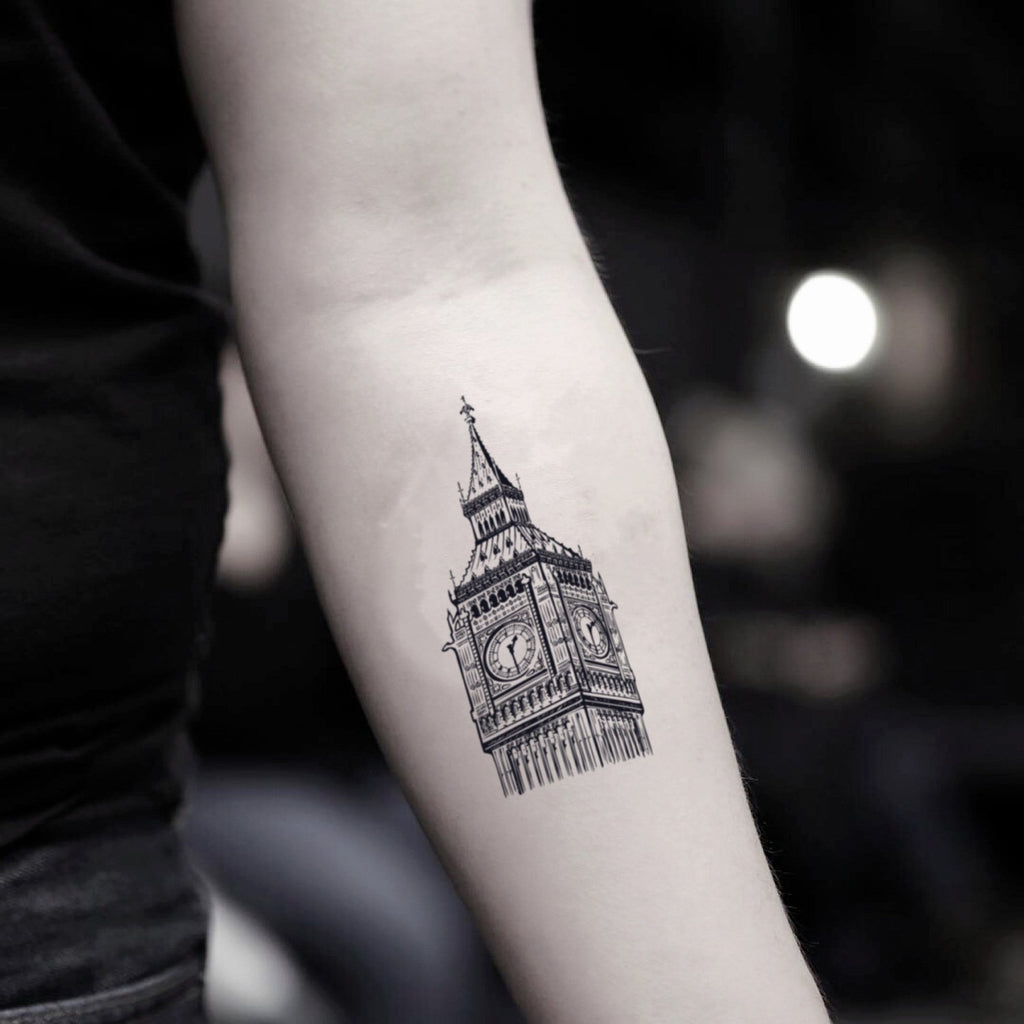 fake small big ben clock tower illustrative temporary tattoo sticker design idea on inner arm