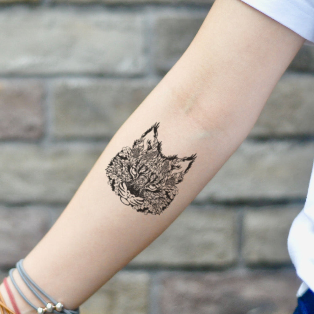fake small bobcat cat head lynx animal temporary tattoo sticker design idea on inner arm