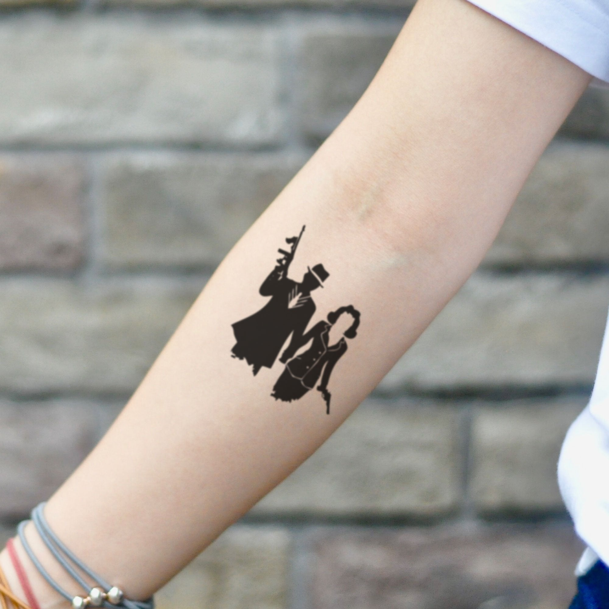Bonnie And Clyde Tattoo: Bonnie And Clyde Temporary Tattoo Sticker