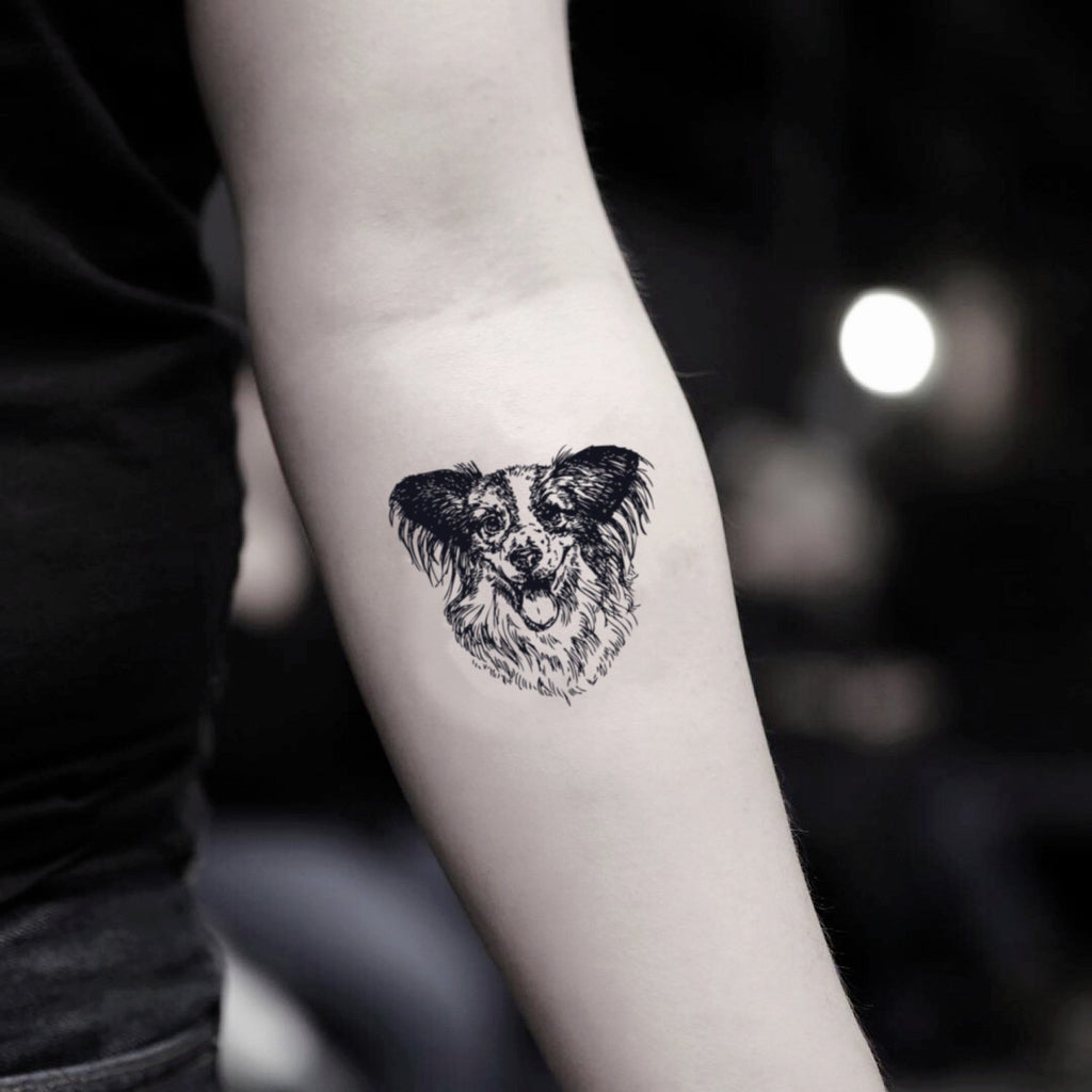 fake small border collie animal temporary tattoo sticker design idea on inner arm