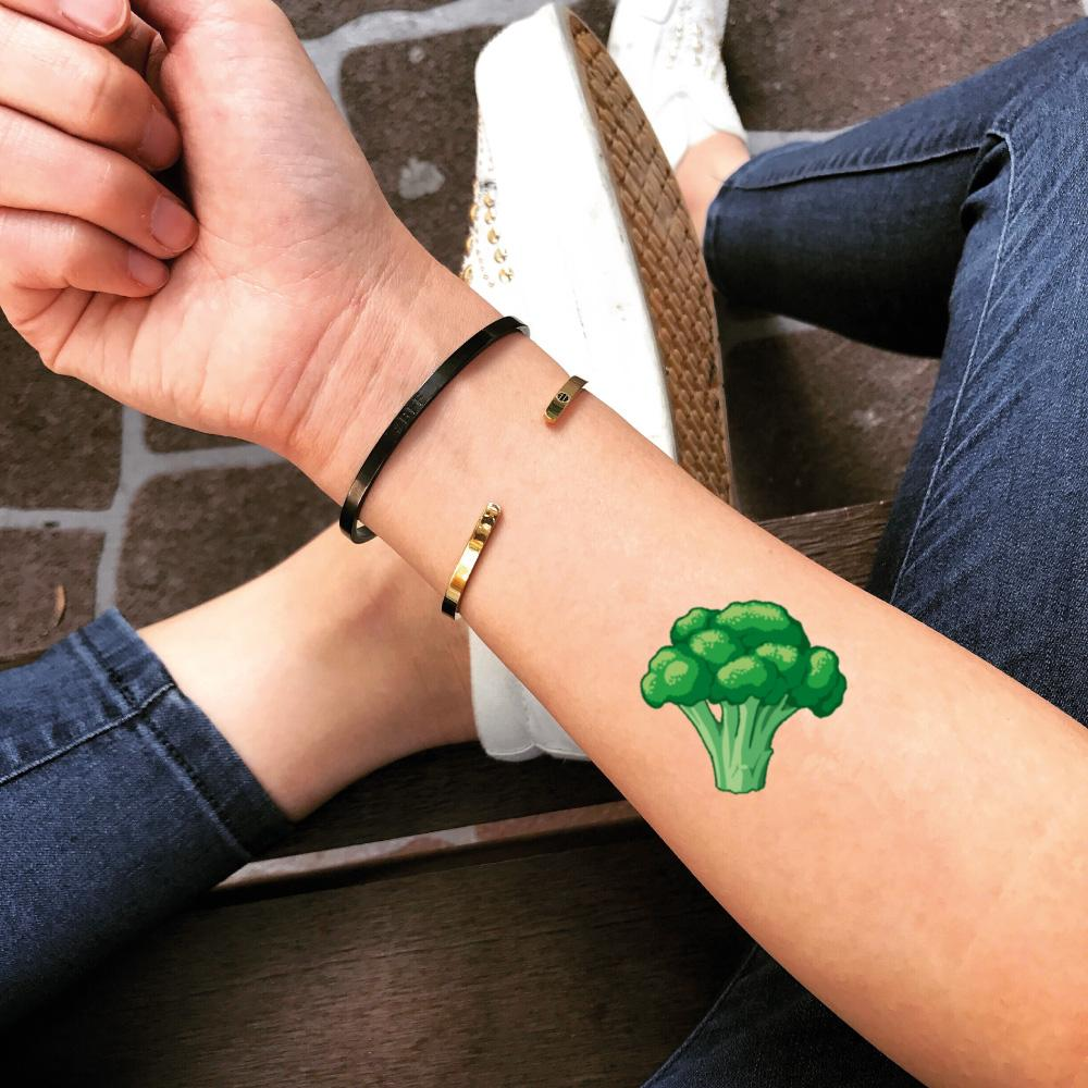 fake small broccoli food color temporary tattoo sticker design idea on forearm